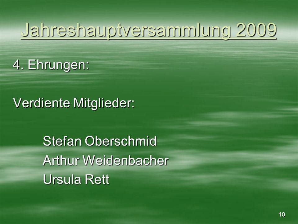 10 Jahreshauptversammlung 2009 4. Ehrungen: Verdiente Mitglieder: Stefan Oberschmid Arthur Weidenbacher Ursula Rett