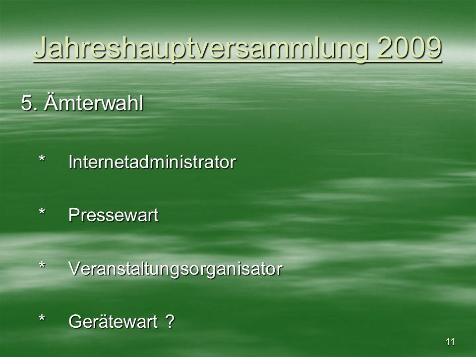 11 Jahreshauptversammlung 2009 5. Ämterwahl *Internetadministrator *Pressewart *Veranstaltungsorganisator *Gerätewart ?