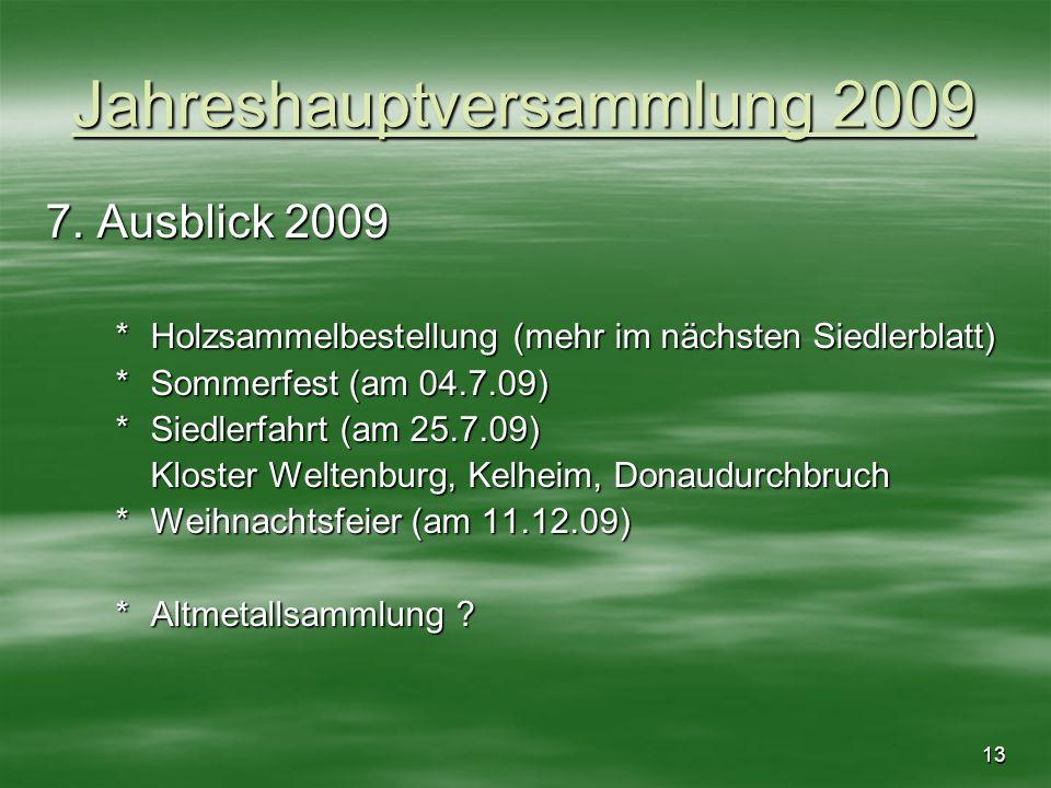 13 Jahreshauptversammlung 2009 7. Ausblick 2009 *Holzsammelbestellung (mehr im nächsten Siedlerblatt) *Sommerfest (am 04.7.09) *Siedlerfahrt (am 25.7.
