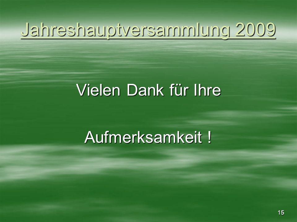 15 Jahreshauptversammlung 2009 Vielen Dank für Ihre Aufmerksamkeit !