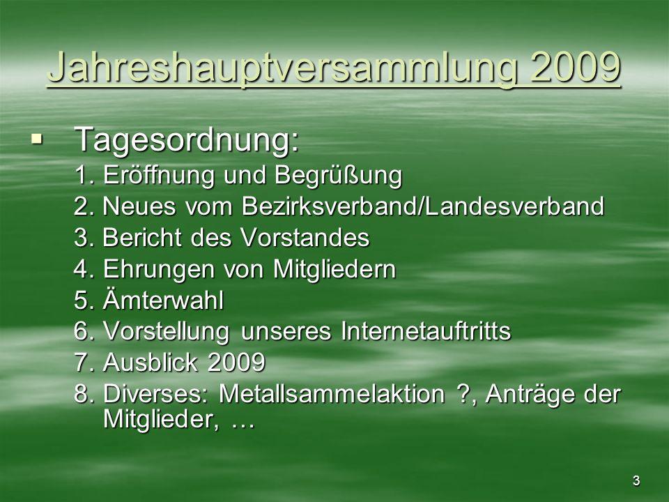 3 Jahreshauptversammlung 2009 Tagesordnung: Tagesordnung: 1. Eröffnung und Begrüßung 2. Neues vom Bezirksverband/Landesverband 3. Bericht des Vorstand