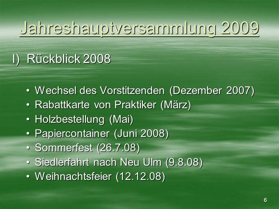7 Jahreshauptversammlung 2009 II) Kassenstand *Kassenstand 2007 …,..