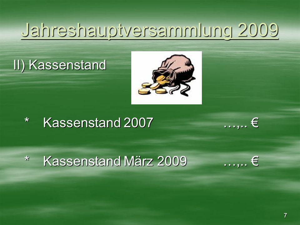 7 Jahreshauptversammlung 2009 II) Kassenstand *Kassenstand 2007 …,.. *Kassenstand 2007 …,.. *Kassenstand März 2009…,.. *Kassenstand März 2009…,..