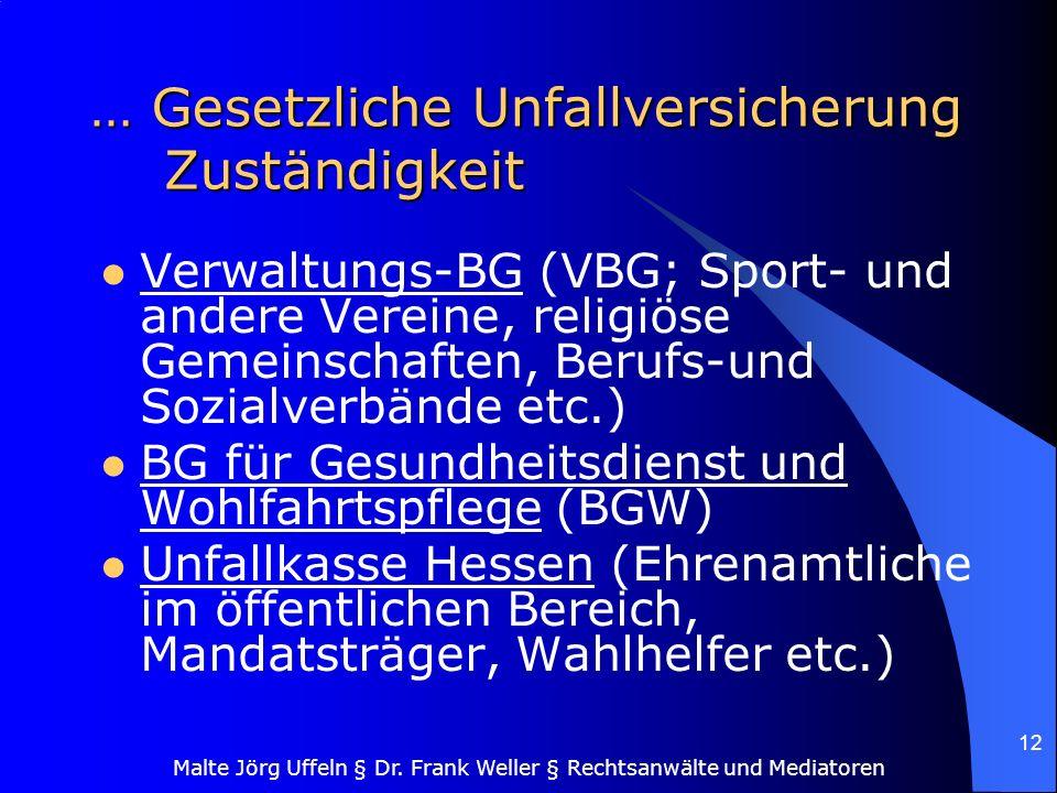 Malte Jörg Uffeln § Dr. Frank Weller § Rechtsanwälte und Mediatoren 12 … Gesetzliche Unfallversicherung Zuständigkeit Verwaltungs-BG (VBG; Sport- und