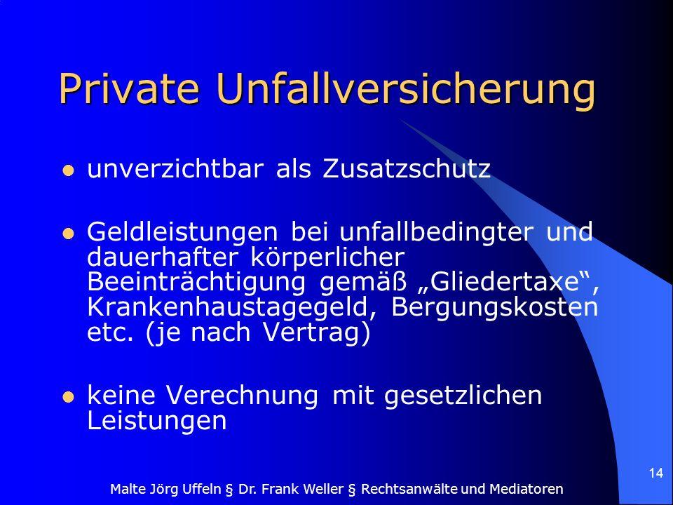 Malte Jörg Uffeln § Dr. Frank Weller § Rechtsanwälte und Mediatoren 14 Private Unfallversicherung unverzichtbar als Zusatzschutz Geldleistungen bei un