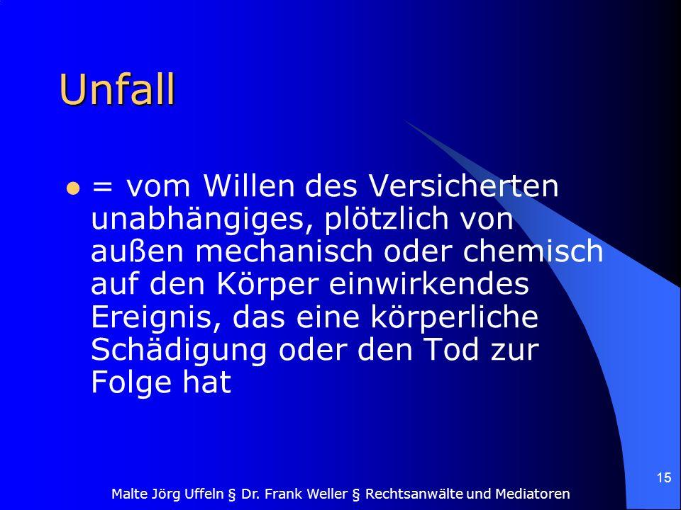 Malte Jörg Uffeln § Dr. Frank Weller § Rechtsanwälte und Mediatoren 15 Unfall = vom Willen des Versicherten unabhängiges, plötzlich von außen mechanis