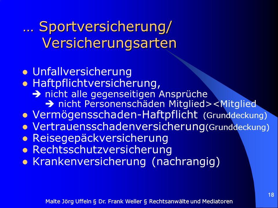 Malte Jörg Uffeln § Dr. Frank Weller § Rechtsanwälte und Mediatoren 18 … Sportversicherung/ Versicherungsarten Unfallversicherung Haftpflichtversicher
