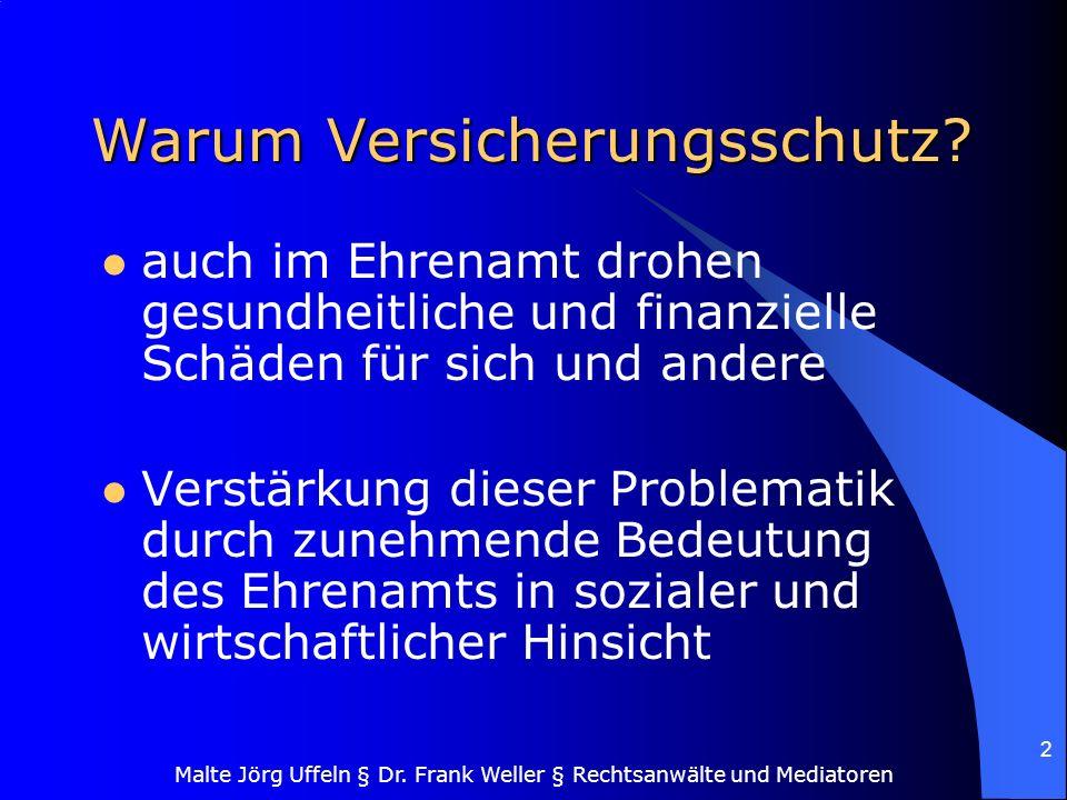 Malte Jörg Uffeln § Dr. Frank Weller § Rechtsanwälte und Mediatoren 2 Warum Versicherungsschutz? auch im Ehrenamt drohen gesundheitliche und finanziel
