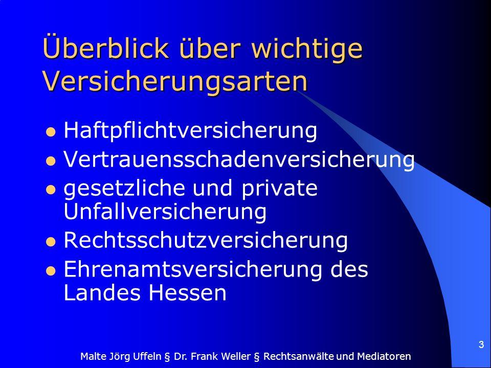 Malte Jörg Uffeln § Dr. Frank Weller § Rechtsanwälte und Mediatoren 3 Überblick über wichtige Versicherungsarten Haftpflichtversicherung Vertrauenssch