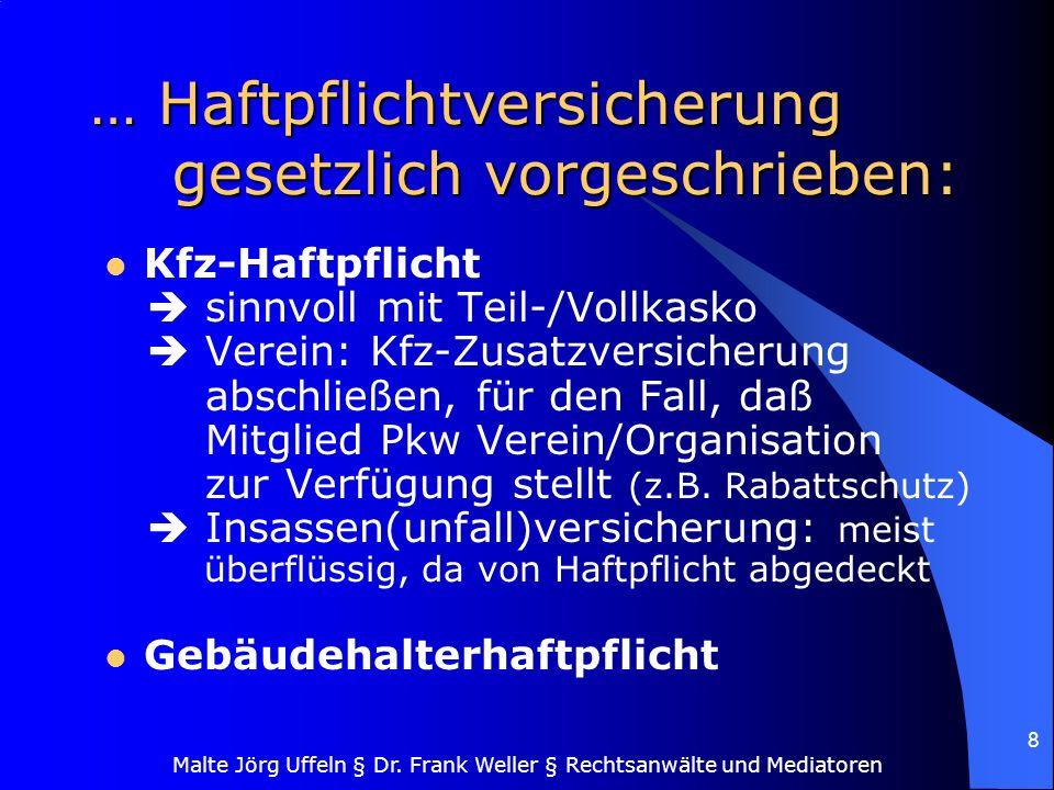 Malte Jörg Uffeln § Dr. Frank Weller § Rechtsanwälte und Mediatoren 8 … Haftpflichtversicherung gesetzlich vorgeschrieben: Kfz-Haftpflicht sinnvoll mi