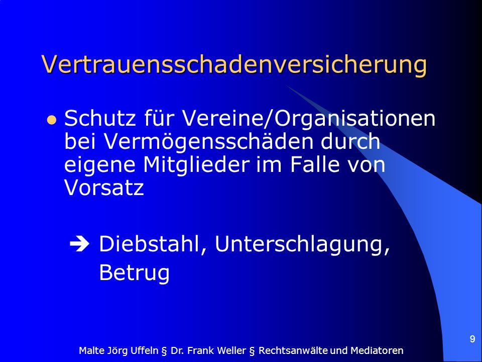 Malte Jörg Uffeln § Dr. Frank Weller § Rechtsanwälte und Mediatoren 9 Vertrauensschadenversicherung Schutz für Vereine/Organisationen bei Vermögenssch