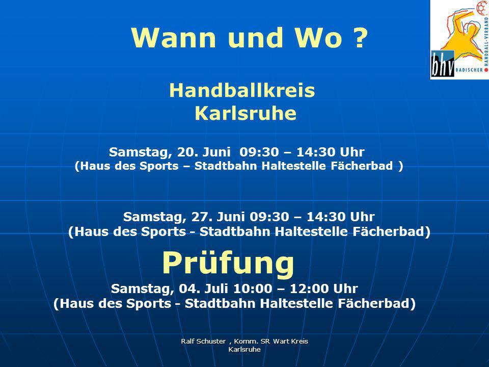 Ralf Schuster, Komm.SR Wart Kreis Karlsruhe Ansprechpartner .