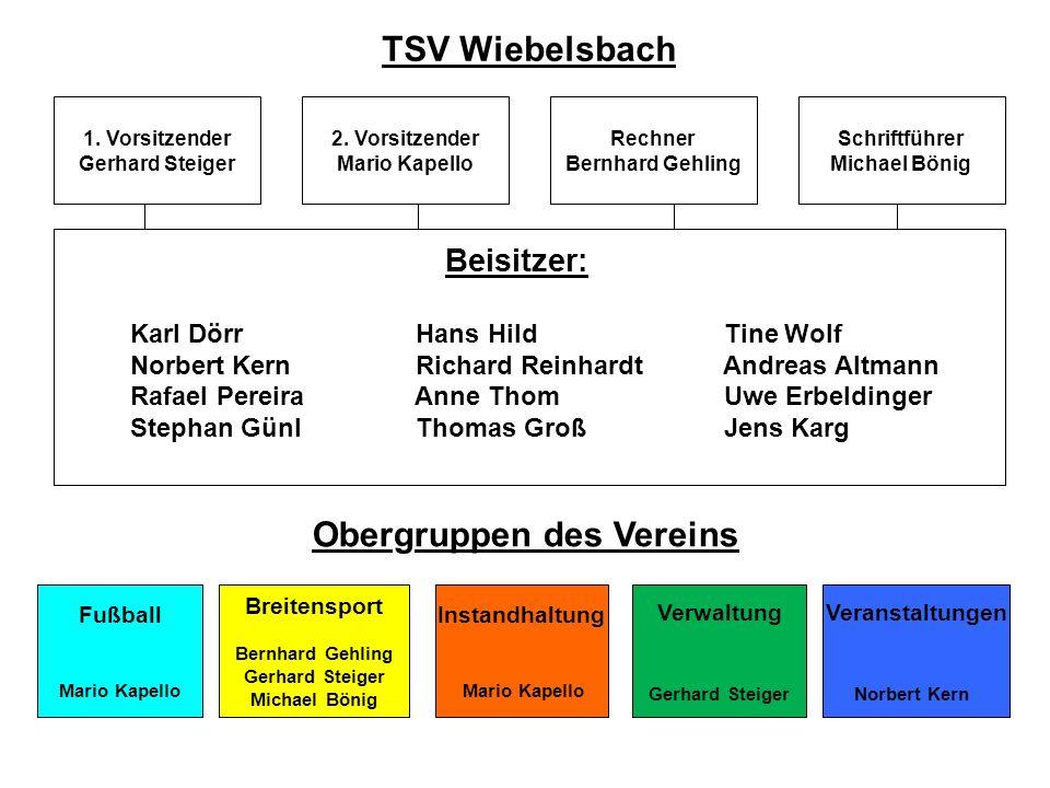 TSV Wiebelsbach 1. Vorsitzender Gerhard Steiger Rechner Bernhard Gehling 2. Vorsitzender Mario Kapello Schriftführer Michael Bönig Beisitzer: Karl Dör