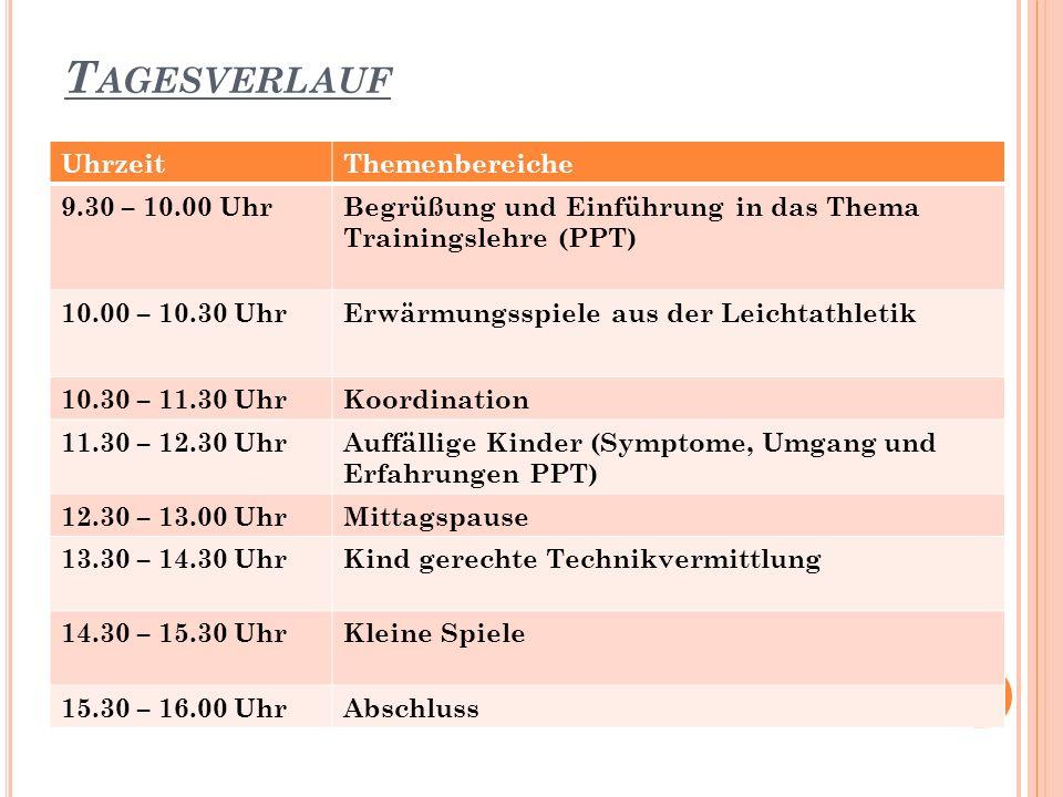 T AGESVERLAUF 2 UhrzeitThemenbereiche 9.30 – 10.00 UhrBegrüßung und Einführung in das Thema Trainingslehre (PPT) 10.00 – 10.30 UhrErwärmungsspiele aus