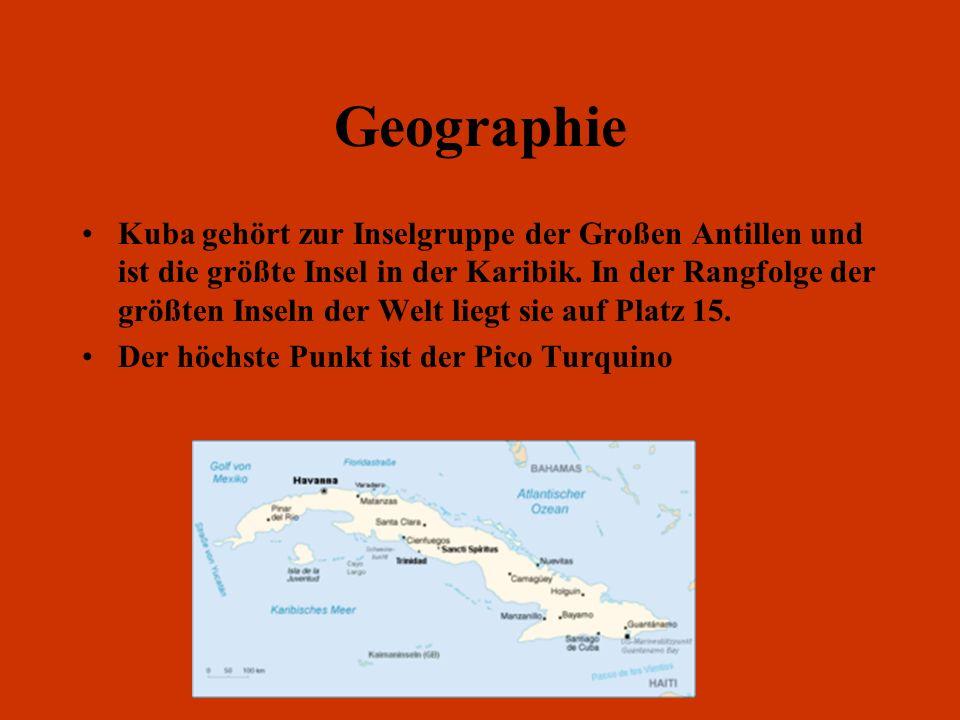 Geographie Kuba gehört zur Inselgruppe der Großen Antillen und ist die größte Insel in der Karibik. In der Rangfolge der größten Inseln der Welt liegt
