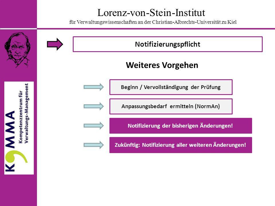 Lorenz-von-Stein-Institut für Verwaltungswissenschaften an der Christian-Albrechts-Universität zu Kiel Notifizierungspflicht Beginn / Vervollständigung der Prüfung Anpassungsbedarf ermitteln (NormAn) Notifizierung der bisherigen Änderungen.