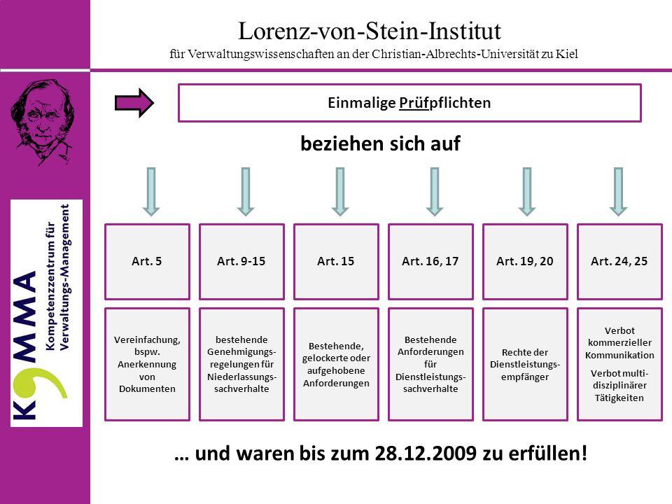 Lorenz-von-Stein-Institut für Verwaltungswissenschaften an der Christian-Albrechts-Universität zu Kiel Einmalige Berichtspflichten beziehen sich auf Art.
