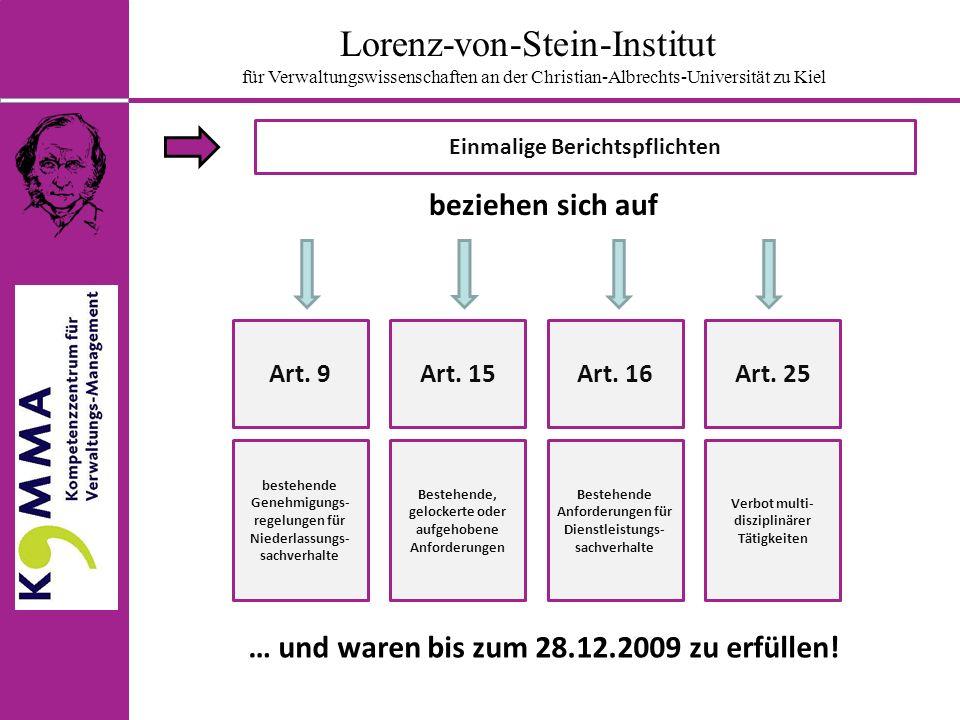 Lorenz-von-Stein-Institut für Verwaltungswissenschaften an der Christian-Albrechts-Universität zu Kiel Einmalige Prüf- und Berichtspflichten Weiteres Vorgehen Zeit PrüfenBerichten ggf.