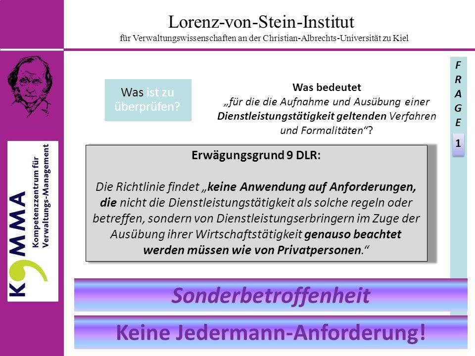 Lorenz-von-Stein-Institut für Verwaltungswissenschaften an der Christian-Albrechts-Universität zu Kiel Was ist zu überprüfen.