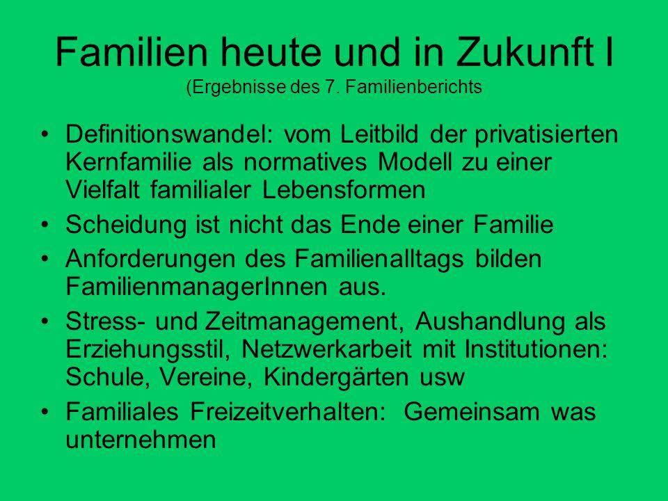 Familien heute und in Zukunft I (Ergebnisse des 7.
