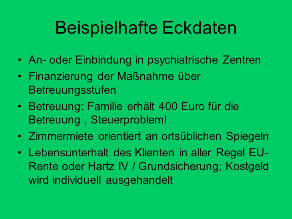Beispielhafte Eckdaten An- oder Einbindung in psychiatrische Zentren Finanzierung der Maßnahme über Betreuungsstufen Betreuung: Familie erhält 400 Euro für die Betreuung, Steuerproblem.