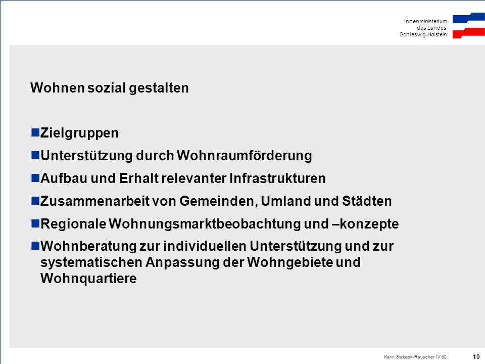 Innenministerium des Landes Schleswig-Holstein Karin Siebeck-Rauscher IV 62 10 Wohnen sozial gestalten Zielgruppen Unterstützung durch Wohnraumförderu