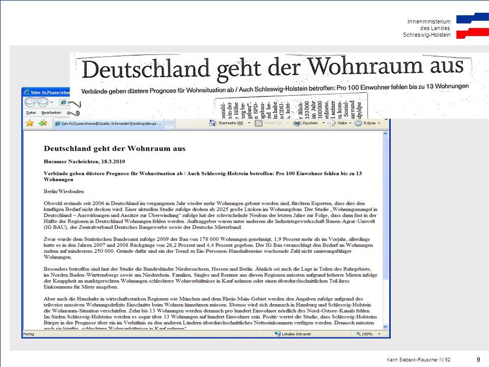 Innenministerium des Landes Schleswig-Holstein Karin Siebeck-Rauscher IV 62 9