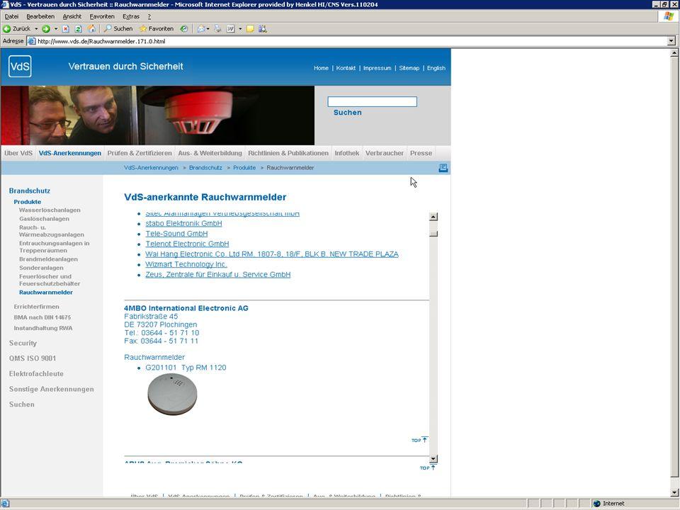 Qualitätskriterien von Rauchwarnmeldern GS bedeutet geprüfte Sicherheit CE Kennzeichen mit DIN VdS Zeichen beachten (Verband der Sachversicherer) www.vds.de Bei Zweifel auf der Internetseite vom VdS nachschauen!.