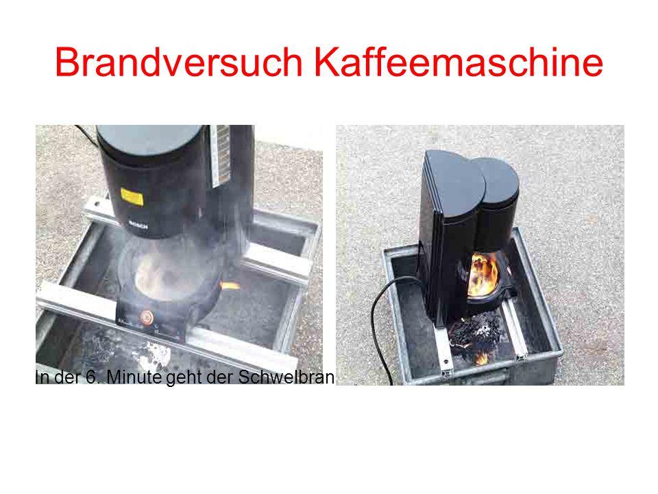 Brandversuch Kaffeemaschine Kurz vor der 5. Minute fallen die Warmhalteplatte, brennende Kabel- und Kunststoffbestandteile ab. Eine deutliche Rauchent