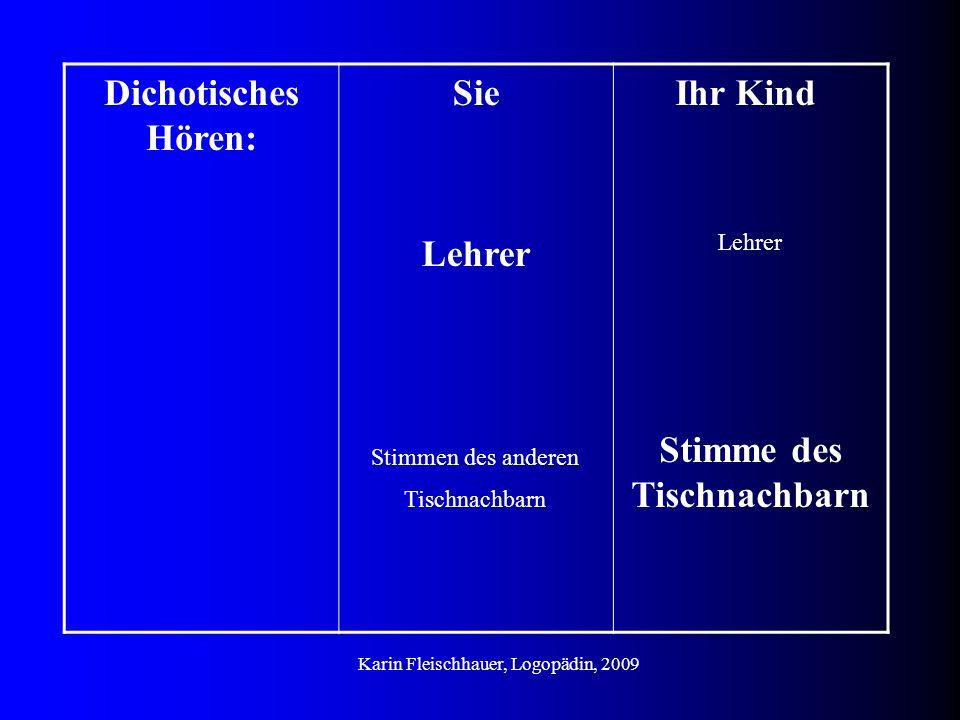 Dichotisches Hören: Sie Lehrer Stimmen des anderen Tischnachbarn Ihr Kind Lehrer Stimme des Tischnachbarn Karin Fleischhauer, Logopädin, 2009
