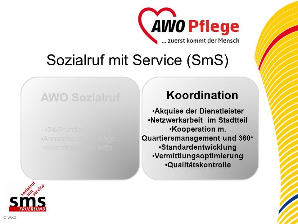 7 © wkö AWO Sozialruf 24-Stunden-Hotline Annahme der Anfrage Vermittlung der Hilfe Koordination Akquise der Dienstleister Netzwerkarbeit im Stadtteil Kooperation m.
