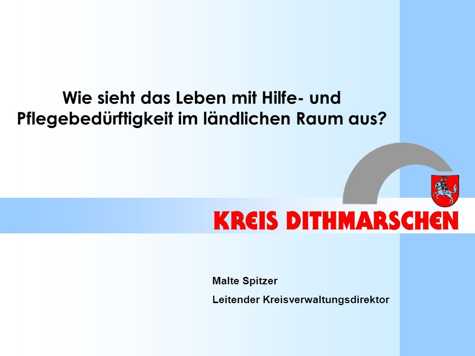 Hilfe- und Pflegebedürftigkeit im ländlichen RaumMalte Spitzer12 Amt Hennstedt – 18,8 % Amt Tellingstedt – 21,3 % Amt Weddingstedt – 24,8 % Stadt Wesselburen – 28,3% Stadt Meldorf – 32,3 % Stadt Marne – 39,3 % Ø 33,8 % geben an, dass es in ihrer Kommune keine Sozialen Netzwerke gibt.