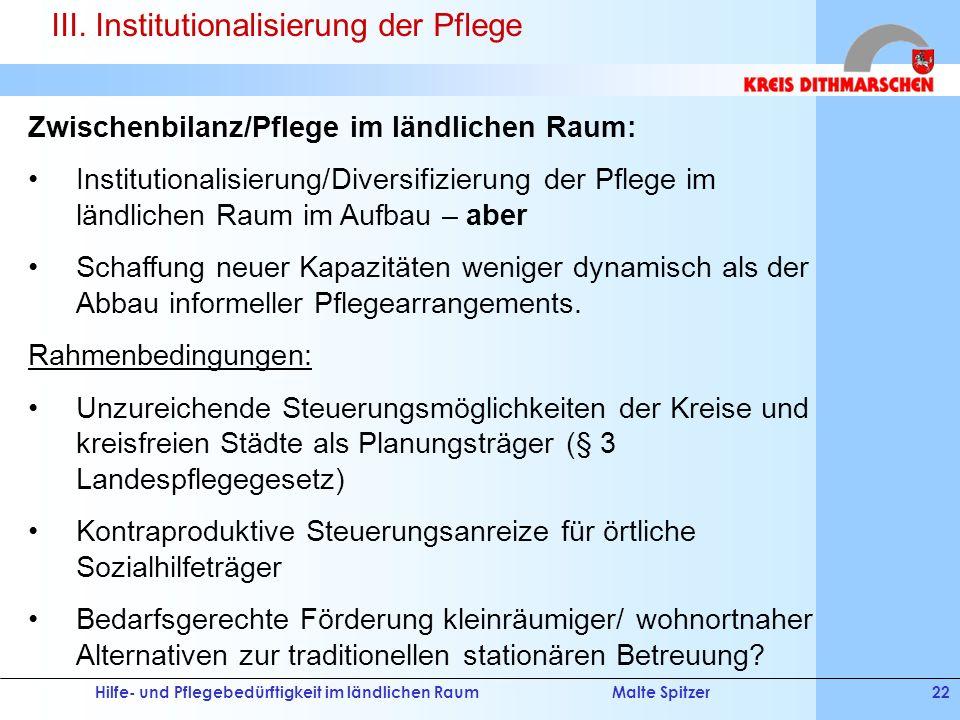 Hilfe- und Pflegebedürftigkeit im ländlichen RaumMalte Spitzer22 Zwischenbilanz/Pflege im ländlichen Raum: Institutionalisierung/Diversifizierung der