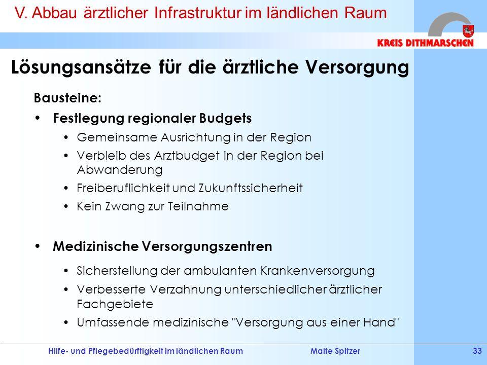Hilfe- und Pflegebedürftigkeit im ländlichen RaumMalte Spitzer33 Lösungsansätze für die ärztliche Versorgung Bausteine: Festlegung regionaler Budgets