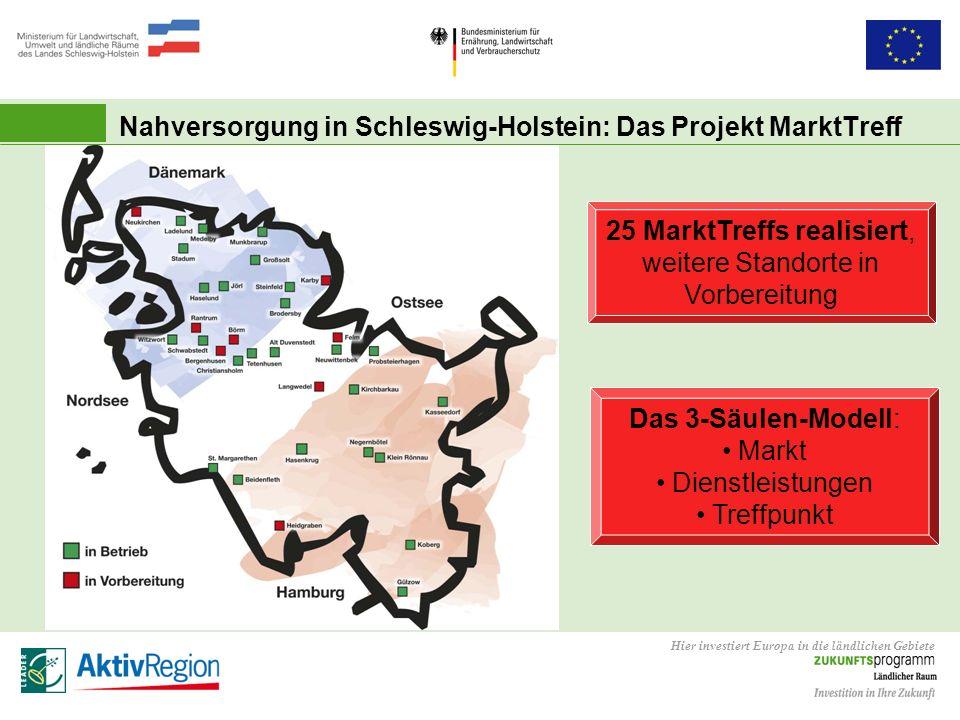 Hier investiert Europa in die ländlichen Gebiete 25 MarktTreffs realisiert, weitere Standorte in Vorbereitung Das 3-Säulen-Modell: Markt Dienstleistun