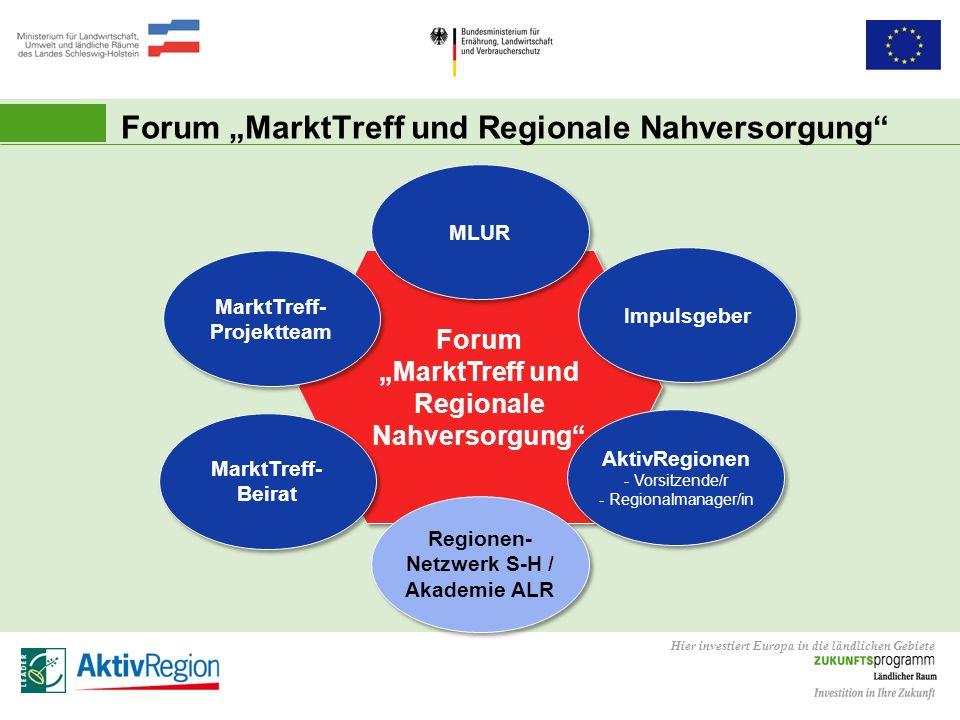 Hier investiert Europa in die ländlichen Gebiete Forum MarktTreff und Regionale Nahversorgung Impulsgeber MarktTreff- Beirat MarktTreff- Projektteam M