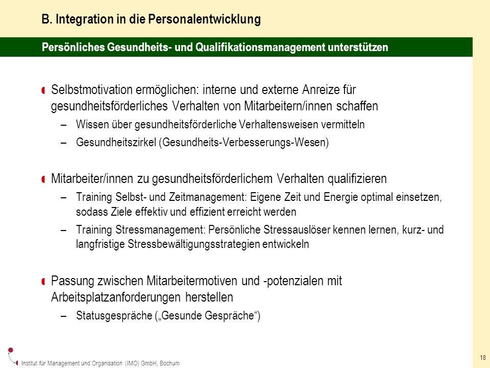 Institut für Management und Organisation (IMO) GmbH, Bochum 18 B.