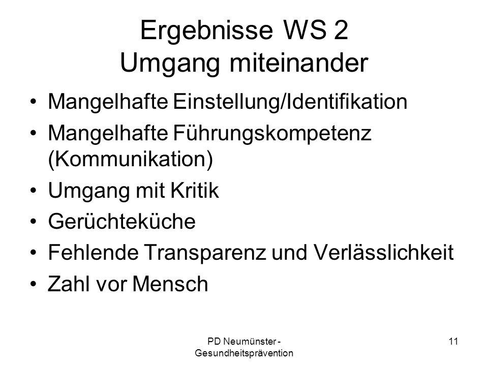 PD Neumünster - Gesundheitsprävention 11 Ergebnisse WS 2 Umgang miteinander Mangelhafte Einstellung/Identifikation Mangelhafte Führungskompetenz (Komm