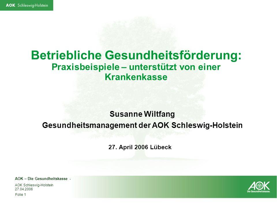AOK – Die Gesundheitskasse - AOK Schleswig-Holstein 27.04.2006 Folie 1 Betriebliche Gesundheitsförderung: Praxisbeispiele – unterstützt von einer Kran