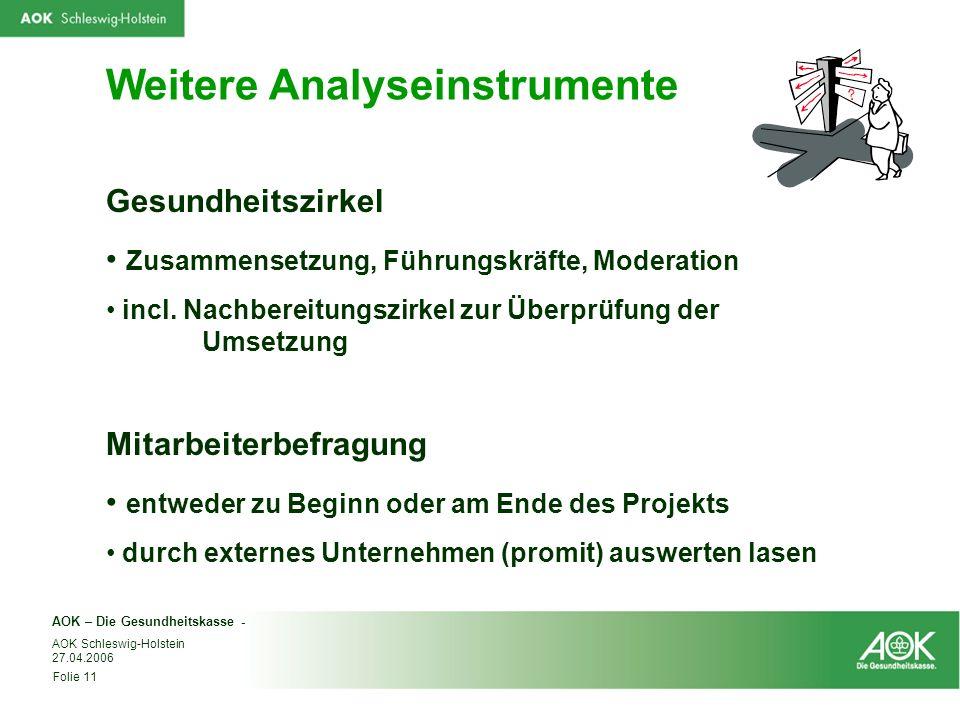 AOK – Die Gesundheitskasse - Folie 11 AOK Schleswig-Holstein 27.04.2006 Weitere Analyseinstrumente Gesundheitszirkel Zusammensetzung, Führungskräfte,