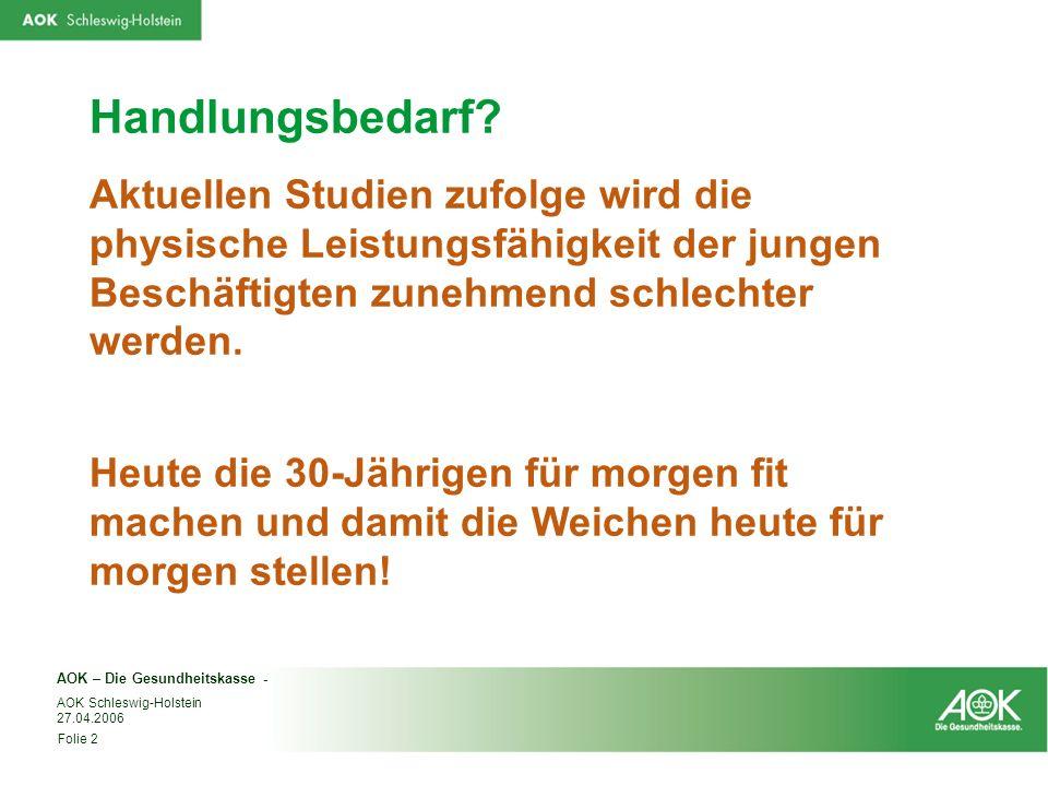 AOK – Die Gesundheitskasse - Folie 2 AOK Schleswig-Holstein 27.04.2006 Handlungsbedarf? Aktuellen Studien zufolge wird die physische Leistungsfähigkei
