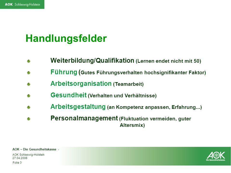 AOK – Die Gesundheitskasse - Folie 3 AOK Schleswig-Holstein 27.04.2006 Handlungsfelder Weiterbildung/Qualifikation (Lernen endet nicht mit 50) Führung
