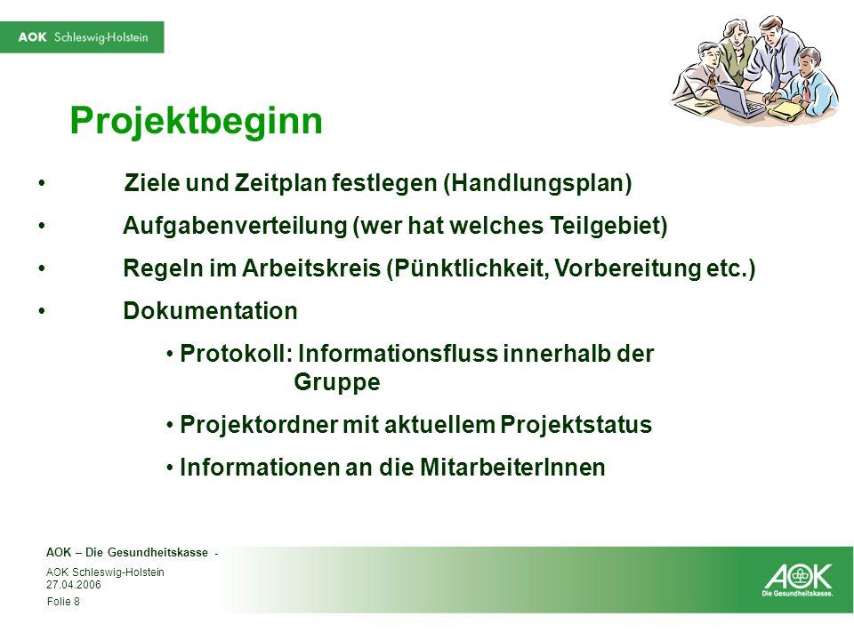 AOK – Die Gesundheitskasse - Folie 8 AOK Schleswig-Holstein 27.04.2006 Projektbeginn Ziele und Zeitplan festlegen (Handlungsplan) Aufgabenverteilung (