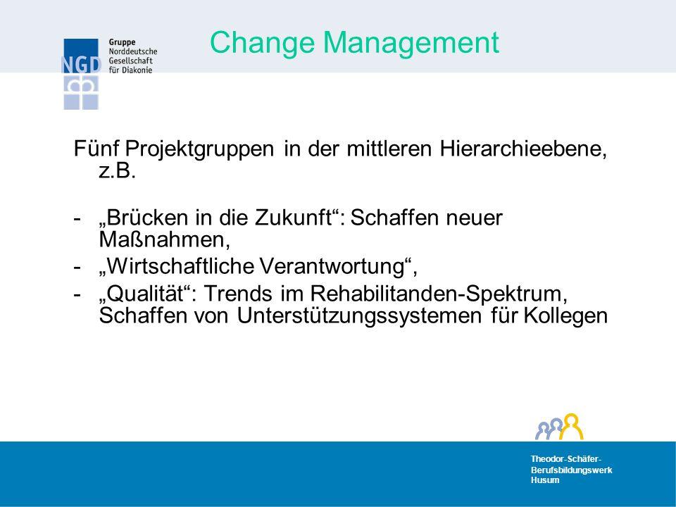 Theodor-Schäfer- Berufsbildungswerk Husum Theodor-Schäfer- Berufsbildungswerk Husum Change Management Fünf Projektgruppen in der mittleren Hierarchieebene, z.B.