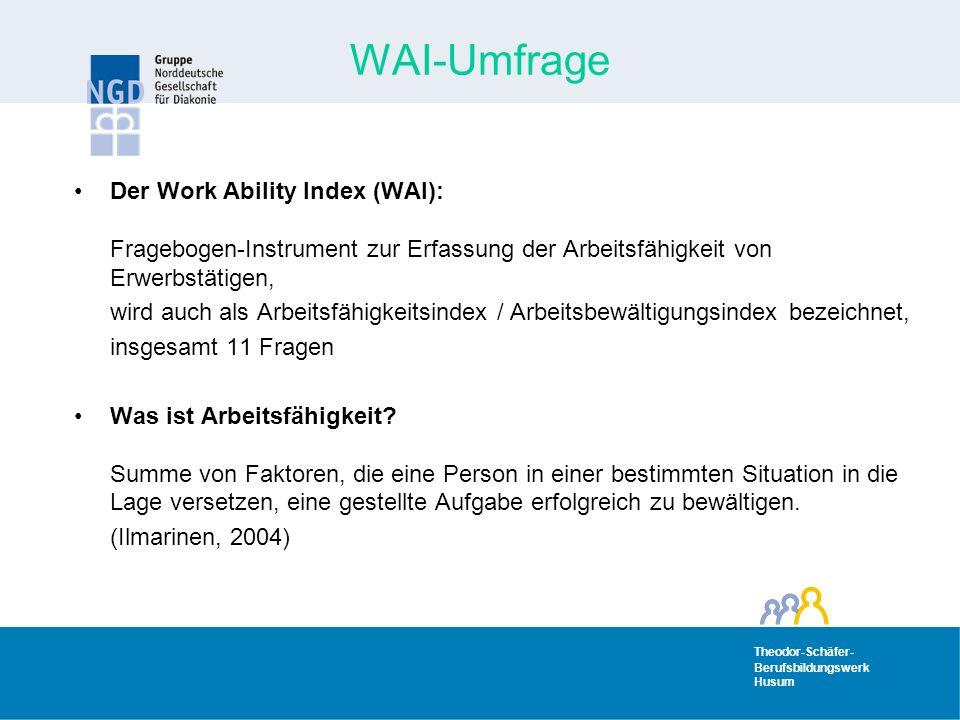 Theodor-Schäfer- Berufsbildungswerk Husum Theodor-Schäfer- Berufsbildungswerk Husum WAI-Umfrage Der Work Ability Index (WAI): Fragebogen-Instrument zur Erfassung der Arbeitsfähigkeit von Erwerbstätigen, wird auch als Arbeitsfähigkeitsindex / Arbeitsbewältigungsindex bezeichnet, insgesamt 11 Fragen Was ist Arbeitsfähigkeit.