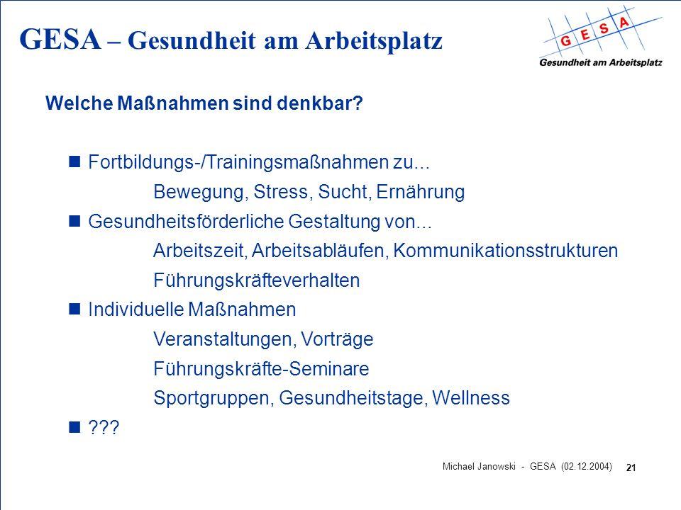 GESA – Gesundheit am Arbeitsplatz 21 Michael Janowski - GESA (02.12.2004) Welche Maßnahmen sind denkbar? nFortbildungs-/Trainingsmaßnahmen zu... Beweg