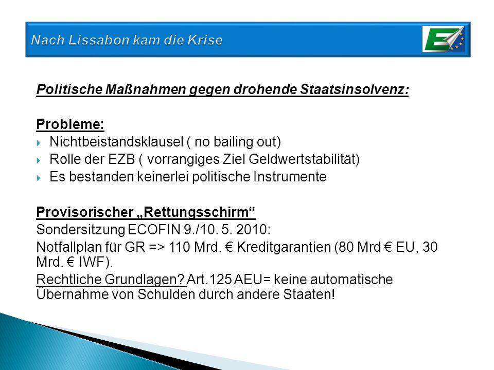 Politische Maßnahmen gegen drohende Staatsinsolvenz: Probleme: Nichtbeistandsklausel ( no bailing out) Rolle der EZB ( vorrangiges Ziel Geldwertstabil