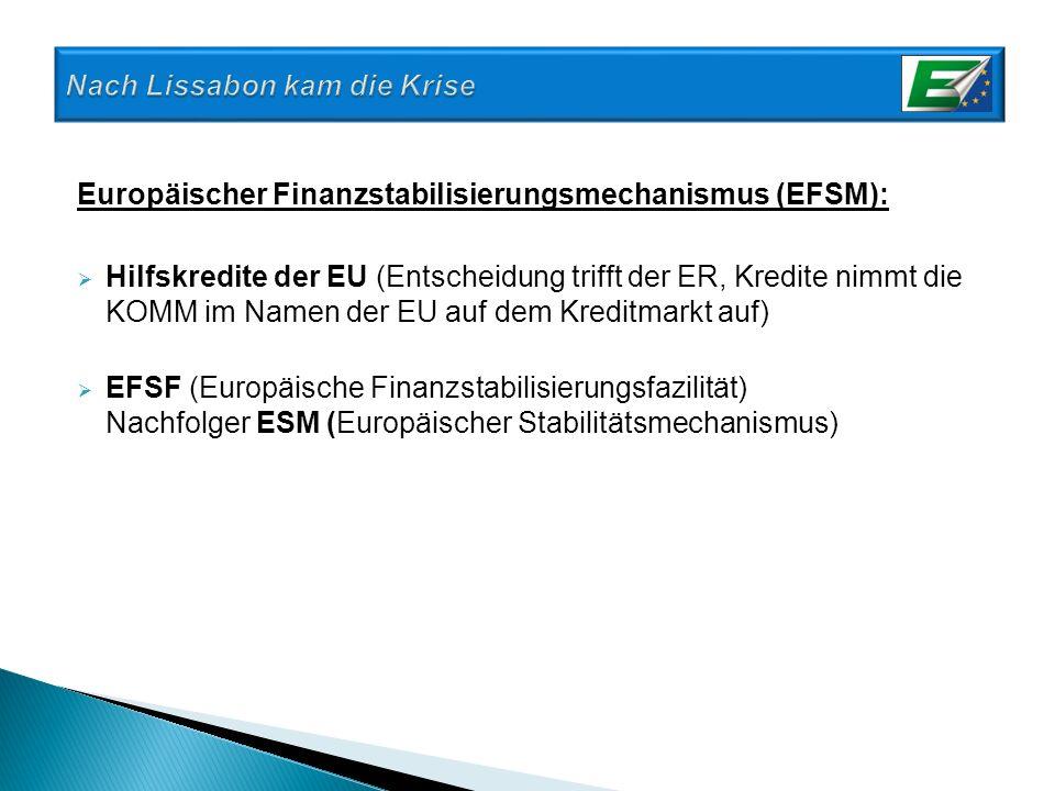 Europäischer Finanzstabilisierungsmechanismus (EFSM): Hilfskredite der EU (Entscheidung trifft der ER, Kredite nimmt die KOMM im Namen der EU auf dem
