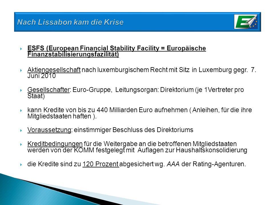 ESFS (European Financial Stability Facility = Europäische Finanzstabilisierungsfazilität) Aktiengesellschaft nach luxemburgischem Recht mit Sitz in Lu