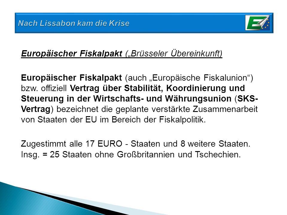 Europäischer Fiskalpakt (Brüsseler Übereinkunft) Europäischer Fiskalpakt (auch Europäische Fiskalunion) bzw. offiziell Vertrag über Stabilität, Koordi